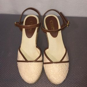 Chaps lace beige & brown wedge heels women shoes